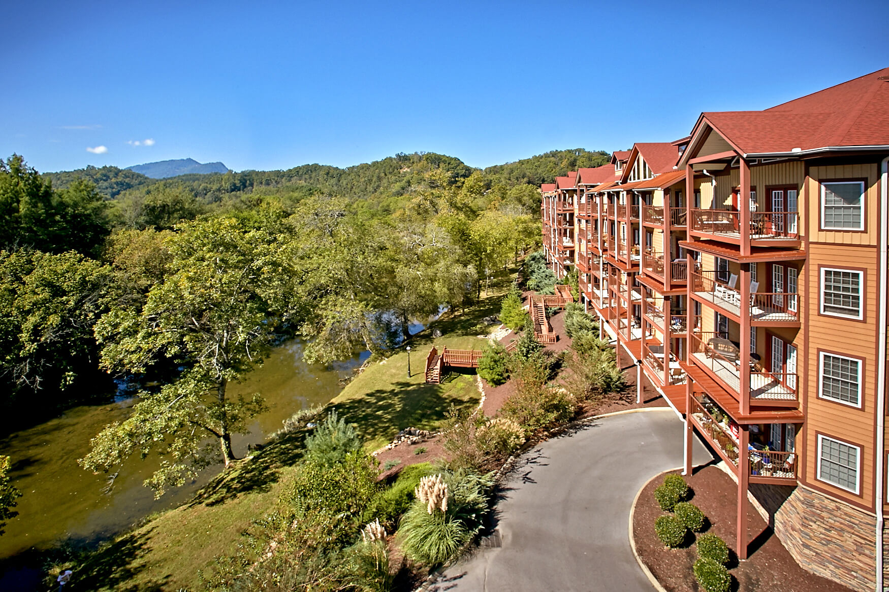 Spectacular views of the Little Pigeon River and Bluff Mountain from the Appleview River Resort condos near Pigeon Forge TN.