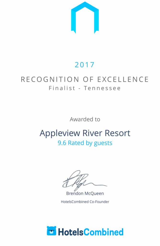 Appleview River Resort-Pigeon Forge Recognition of Excellence