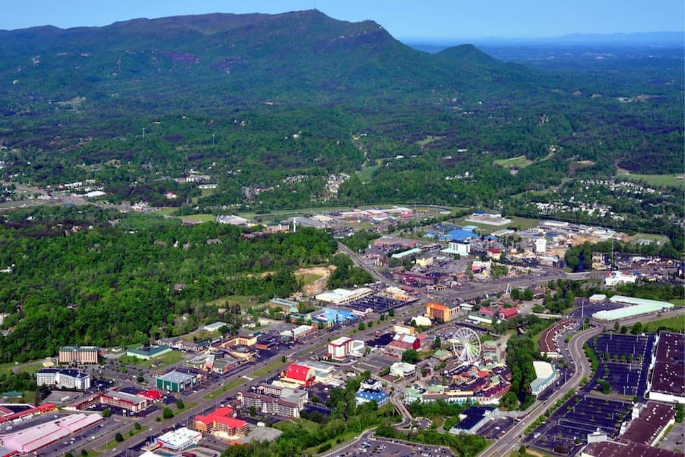 aerial view pigeon forge